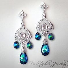 JASMINE Peacock Blue Bridal Chandelier Earrings