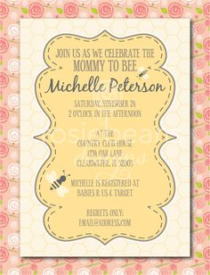 Mommy to Bee Baby Shower Invites (B is for Baby). $20.00, via Etsy.