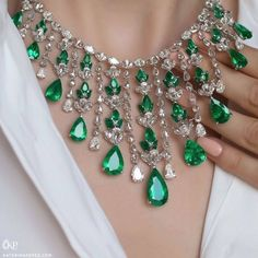 Emerald and diamond necklace, an absolute showstopper! The Emerald Waterfall Necklace features unbelievably vivid Colombian emeralds and brilliant and rose cut diamonds, Emerald Necklace, Emerald Jewelry, Diamond Pendant Necklace, Diamond Necklaces, Diamond Jewelry, Gold Bracelets, Diamond Rings, Diamond Choker, Gold Earrings