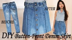 DIY Turn Your Old Jeans Into Skirt | Button Front Denim Skirt from Pants | Clothes Transformation - YouTube