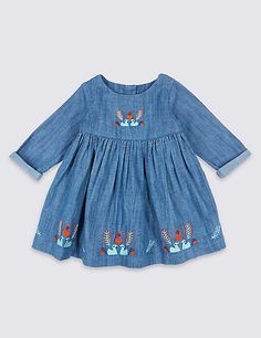2 Piece Embroidered Baby Dress with Tights | M&S