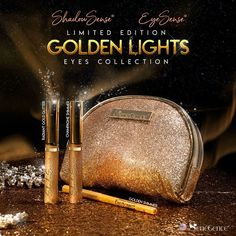 Keep it LIT with the Golden Lights  EYES Collection by SeneGence this Holiday Season. This collection includes: Champagne Shimmer ShadowSense, Radiant Gold Glitter ShadowSense and Golden Shimmer Pencil Eyeliner.  #radiantgoldglitter #gold #champagneshimmer #goldenshimmer #goldenlights #senegence #shadowsense #eyesense