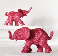 Hot Pink Elephants in Magenta Glitter for Christmas Entertaining, Holiday Table Settings, or Repurposed Decor