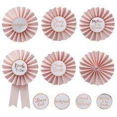 Pink & Rose Gold Hen Party Badges - Team Bride - Ginger Ray