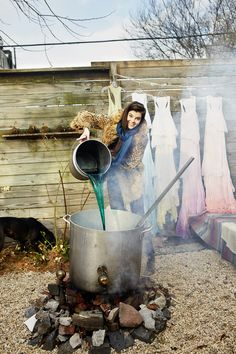 Audrey Louise Reynolds' dyeing cashmere in her backyard cauldron