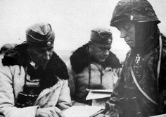"Just days before the re-taking of Kharkov, March, 1943, From the left: SS-Brigadeführer Paul ""Papa"" Hauser, commander of 2.SS-Division ""Das Reich"" and, later the II.SS Panzer Korps, Standartenführer Werner Ostendorf, and 2.SS-Division ""Das Reich"" Aufklärungs-Abteilung Commander, Sturmbannführer Fritz Klingenberg."