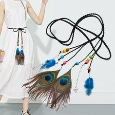 Women Fashion Folk-Custom Peacock Braided Feather Waist Rope Belt