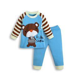 2016 2pcs Cotton Autumn Baby Clothing Set Fashion Bear Striped Newborn Boy Girl Clothes Suit Cheap Bebes Long Shirt Pants Infant