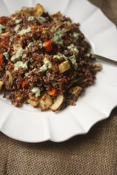 Meatless Monday: Red Quinoa Salad with Roasted Carrots, Parnsips, and Green Tahini Dressing