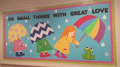 April bulletin board Catholic School Board, Catholic Bulletin Boards, Spring Bulletin Boards, Preschool Bulletin Boards, Classroom Board, Bulletin Board Display, Classroom Bulletin Boards, Preschool Themes, Bullentin Boards