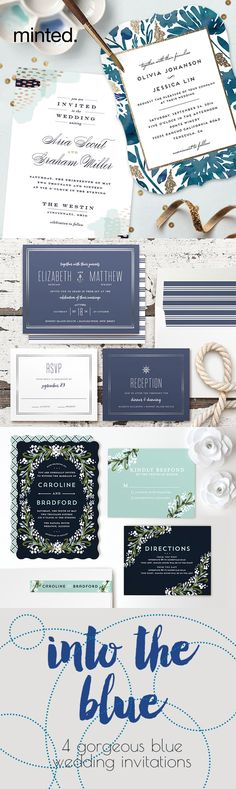 Blue wedding invitations from minted.com