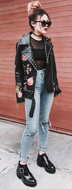 street style obsession / embroidered biker jacket + top + rips + boots