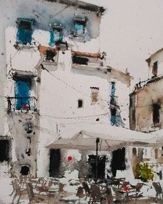 One persons attempt to become a good artist painting in watercolour, experiences along the way and discussion of all things connected with it. Watercolor City, Watercolor Sketch, Watercolor Landscape, Watercolor Illustration, Landscape Art, Watercolor Paintings, Watercolors, Watercolor Architecture, Urban Sketching