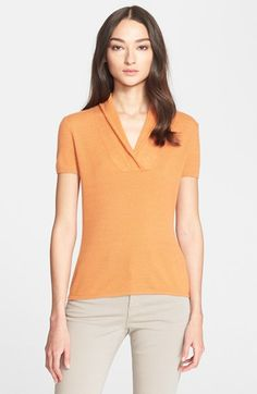 Women's Armani Collezioni Short Sleeve Cashmere Top