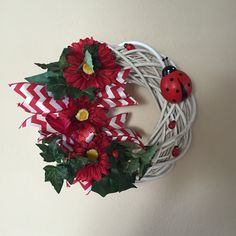 Lady bug wreath. Nice all season wreath. Available in my etsy store.