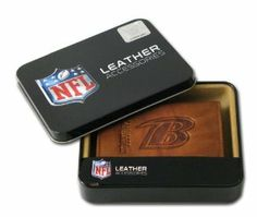 NFL Baltimore Ravens Embossed Trifold Leather Wallet by Rico. $18.94. Genuine cowhide pecan leather with marbling. ID window and credit card pockets. Team logo embossed to last. Genuine leather trifold wallet embossed with team logo. Carry your cash, credit cards, and identification in this Baltimore Ravens embossed trifold wallet from RICO® Industries. The genuine leather wallet holds approximately 4 credit cards and has a clear plastic slot for your ID. It's designed ...