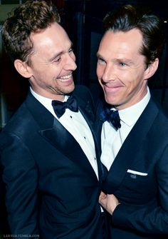 #TomHiddleston and #BenedictCumberbatch at the BAFTAs 2015.
