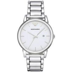 Armani AR1854 Men's Classic White Dial Steel Bracelet Date Watch
