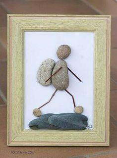 Resultado de imagen de how to make pebble art Sea Glass Crafts, Sea Glass Art, Shell Crafts, Stone Crafts, Rock Crafts, Arts And Crafts, Stone Pictures Pebble Art, Stone Art, Pebble Painting