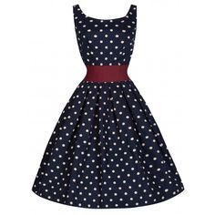 Lana Navy Polka Swing Dress | Vintage Inspired Fashion - Lindy Bop