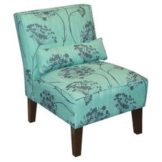 Check out this item at One Kings Lane! Bergman Armless Chair, Aqua/Green