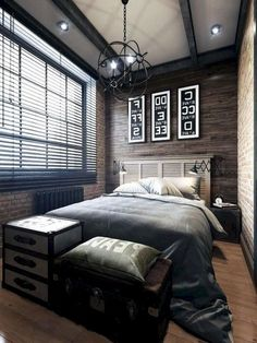 Small Bedroom Ideas - Master bedroom doesn't have to be huge if you don't have enough space.Do you need some inspiration of small master bedroom decorating ideas that fit with your style and space? Industrial Bedroom Design, Simple Bedroom Design, Small Bedroom Designs, Small Room Design, Modern Industrial, Inside Design, Bed Design, Dream Master Bedroom, Master Bedroom Design