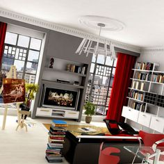 Grey, red and black living room