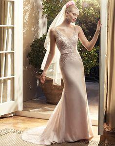 @Bellethemagazine wedding dresses | Casablanca Bridal Fall 2015 | Floor Blush Sheath V-Neck $$ ($1,001-2,000)