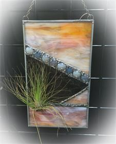 Sunset Dunes : Stained glass air plant holder including air plant