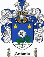 ANTONIO family crest / coat of arms from www.4crests.com #coatofarms #familycrest #familycrests #coatsofarms #heraldry #family #genealogy #familyreunion #names #history #medieval #codeofarms #familyshield #shield #crest #clan #badge #tattoo