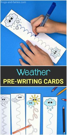 Weather Pre-Writing Cards - Frogs and Fairies