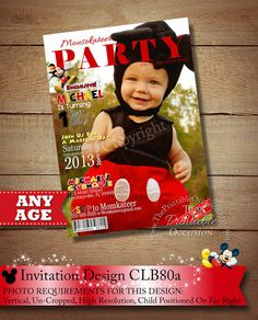 Mickey Mouse Invitation, Photo, Magainzine Cover, Birthday Invitation, Clubhouse, Invitation, Printable, Photo Polka Dot Birthday, Mickey Birthday, Printable Invitations, Party Printables, Mickey Mouse Invitation, Photo Birthday Invitations, Birthday Photos, Birthday Ideas, Pennant Banners