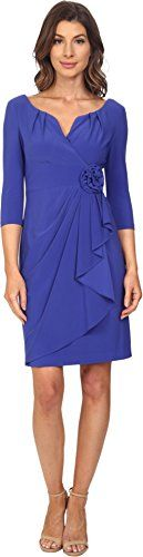 Adrianna Papell Womens Rosette Draped Cascade Dress Indigo Blue Dress 2 ** Learn more by visiting the image link.