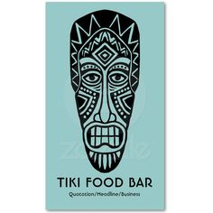 Tiki Mask - Lt Blue Green on White Business Card Templates from Zazzle.com