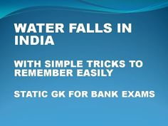Famous Water Falls In India With Simple Tricks (Static Gk For Bank Exams)…
