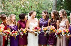 gorgeous mixed jewel tone bridesmaids | Landon Jacob