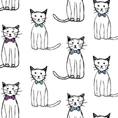 Image result for watercolor row of cats