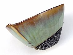 Lithology - Porcelain Bowl in Green and Blue Glazes with Carved Foot, Hand Built Ceramic Dinnerware, Art Vessel.  6.25 w X 4 in. tall.  Food safe.
