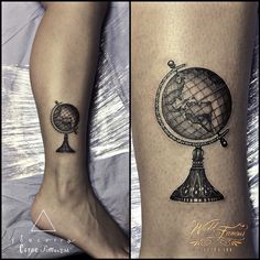 Globe tattoo in black and grey. Neo traditional style by Jorge Beccera Tattoo Life, New Life Tattoos, Home Tattoo, Family Tattoos, Couple Tattoos, Tattoos For Guys, Paar Tattoos, Leg Tattoos, Body Art Tattoos