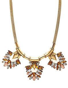 Mesh Chain Faceted Stone Bib Necklace  #charlotterusse #charlottelook