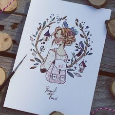 Beautiful drawing with a girl and tiny bird houses