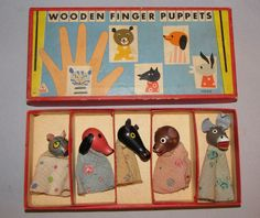 Vintage Tofa Wooden Finger Animal Puppets Lot *Complete Set of 5* Czechoslovakia