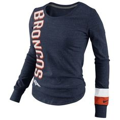 Nike Denver Broncos Go Long Ladies Long Sleeve T-Shirt - Navy Blue