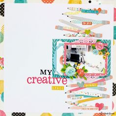 My creative space by AnitaBownds at Studio Calico Scrapbook Cover, Love Scrapbook, Scrapbook Sketches, Scrapbooking Layouts, Scrapbook Cards, Paper Art, Paper Crafts, Scrapbook Organization, School Pictures