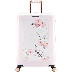 Ted Baker Oriental Blossom Suitcase - Medium (4.509.675 IDR) ❤ liked on Polyvore featuring bags, luggage, accessories, travel and pink