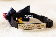Handmade Dogs/Cats Cotton Pet ID Tag on Pet Collar on Etsy, $6.80
