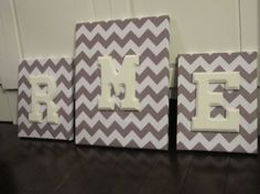 THREE Wall Canvas Letters, Nursery Decor, Nursery Letters, Wooden Letters, Personalized, Nursery Art, Grey and White Chevron