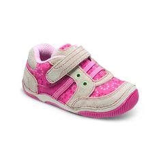 Stride Rite Juniper in Pink/Taupe. #striderite #junipersneaker #babygirlshoes #baby #girls #sneakers #pink #cutegirlshoes