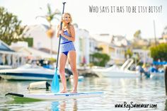 Paddleboarding through the canals  { Caroline in Gingham } #reyswimwear #whosaysithastobeitsybitsy www.reyswimwear.com Modest swimsuit.