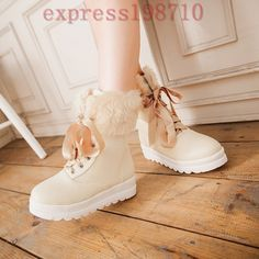 Womens Warm Girls Fur Lined Flat Heels Fur Trim Lace Up Platform Ankle Boots Sz